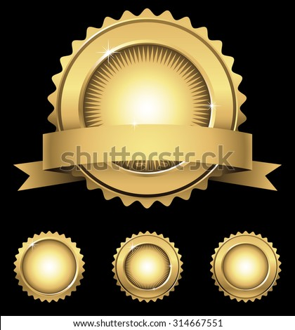 Shiny Gold Emblem & Seals - Shiny gold emblem with banner, and 3 individual gold seals in different styles. File is layered, and each seal is grouped separately for easy editing. - stock vector