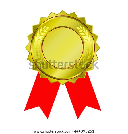 shiny gold medal and red ribbon isolated on white background. - stock vector