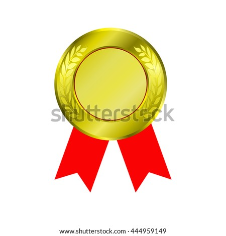 shiny gold medal and red ribbon isolated on white background.