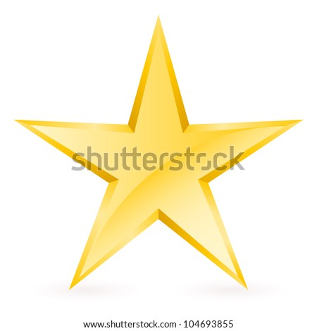Shiny Gold Star. Form of the seventh. Illustration for design on white background - stock vector