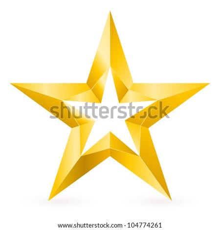 Shiny Gold Star. Form of the third. Illustration for design on white background - stock vector