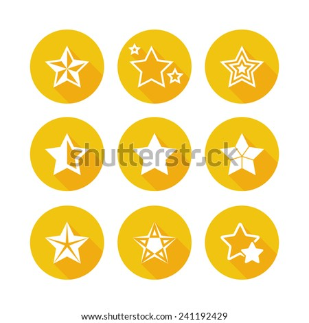 Shiny Gold Star Icons - stock vector