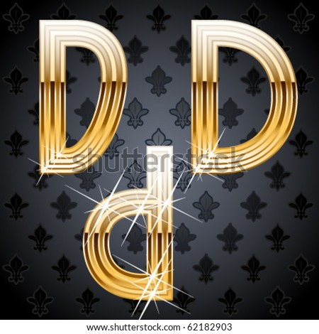 Shiny golden alphabet on a chic victorian background. Character d - stock vector