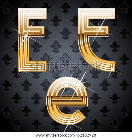 Shiny golden alphabet on a chic victorian background. Character e - stock vector