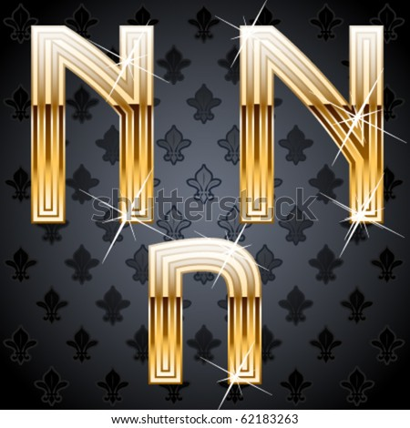 Shiny golden alphabet on a chic victorian background.  Character n - stock vector