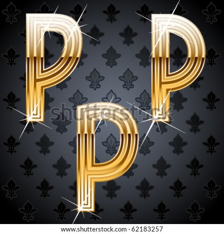Shiny golden alphabet on a chic victorian background.  Character p - stock vector