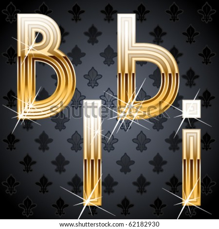 Shiny golden alphabet on a chic victorian background. Characters b i - stock vector