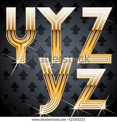 Shiny golden alphabet on a chic victorian background.  Characters y z