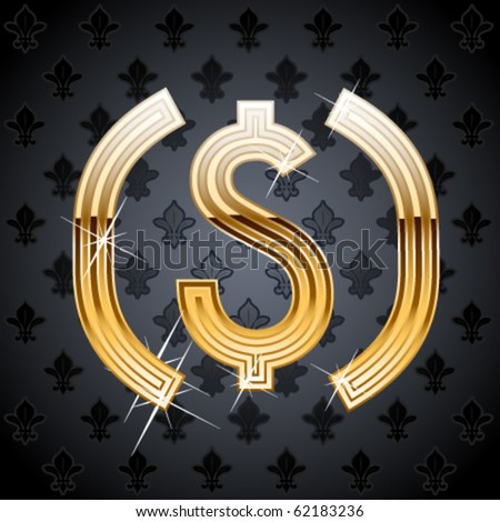 Shiny golden alphabet on a chic victorian background. dollar symbol