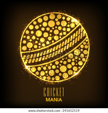 Shiny golden ball on brown background for Cricket Mania. - stock vector