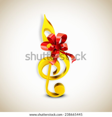 Shiny golden color g-clef with red ribbon on stylish background. - stock vector