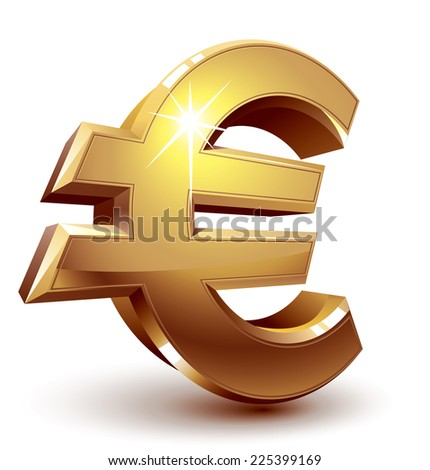 Shiny golden euro sign. Eps8. CMYK. Organized by layers. Global colors. Gradients used. - stock vector