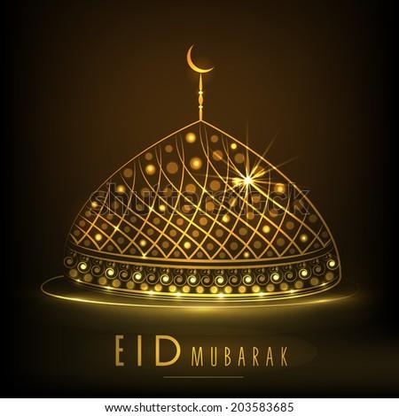Shiny golden mosque on brown background for Muslim community festival Eid Mubarak celebrations.  - stock vector