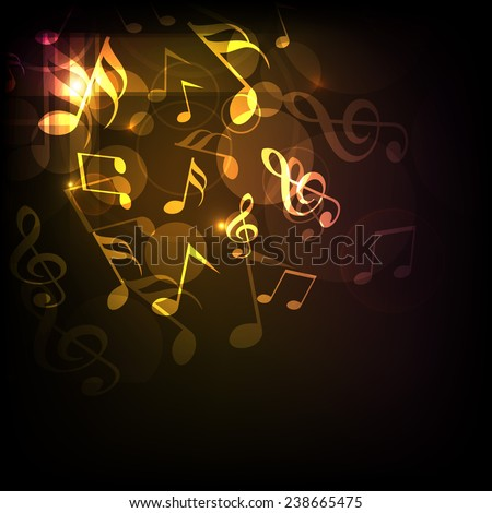 Shiny golden musical notes on dark brown background. - stock vector