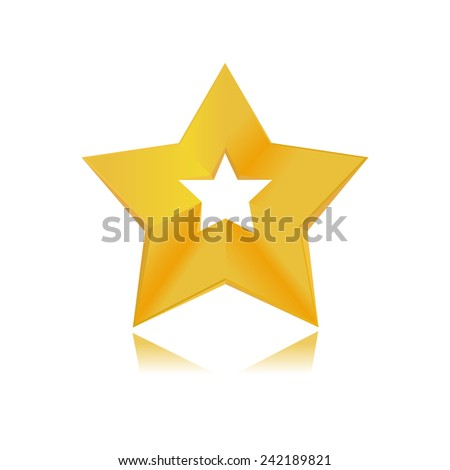 shiny golden star icon on white background - stock vector