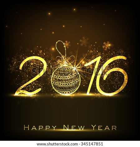 Shiny golden text 2016 with Xmas Ball on snowflakes decorated brown background for Happy New Year celebration.