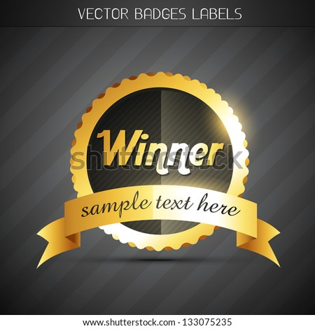 shiny golden vector winner label design - stock vector