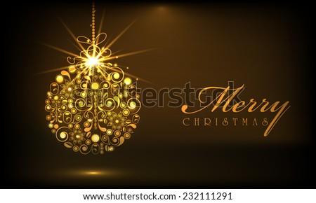 Shiny golden X-mas ball decorated with floral design for Merry Christmas celebrations on brown background. - stock vector