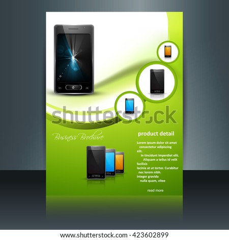 Shiny green mobile phone brochure - stock vector