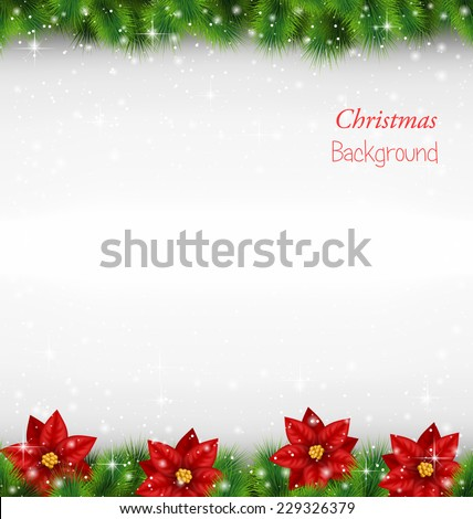 Shiny green pine branches like frame with flower of poinsettia in snowfall on grayscale background - stock vector