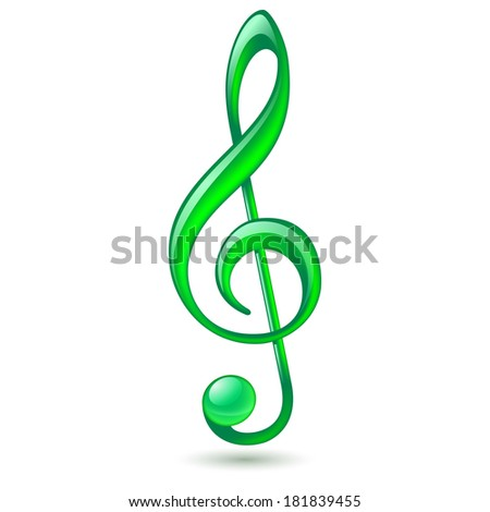 Shiny green treble clef on white background - stock vector