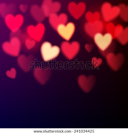 Shiny hearts bokeh Valentine's day background - stock vector