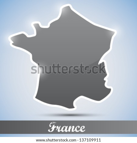 shiny icon in form of France - stock vector