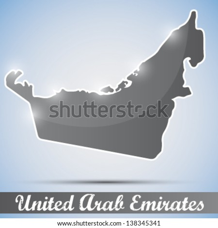 shiny icon in form of United Arab Emirates - stock vector
