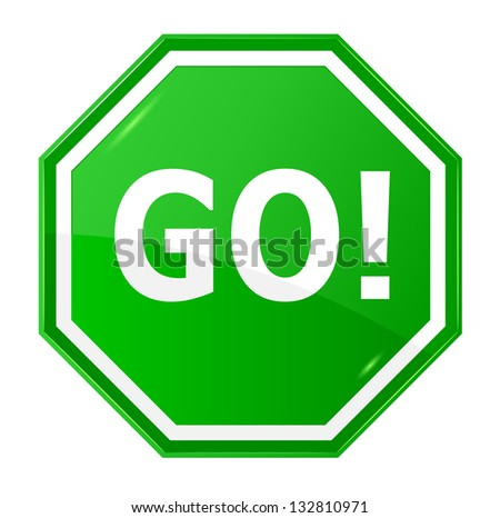 Go Sign Icon Green Go Sign I...