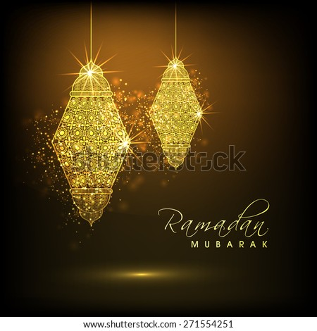 Shiny illuminated hanging golden arabic lamps or lanterns on brown background for holy month of muslim community, Ramadan Kareem celebration. - stock vector
