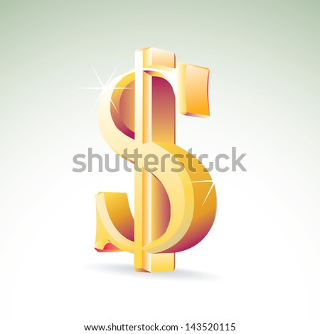 Shiny illustration of Dollar sign, with shadow and sparkles - stock vector