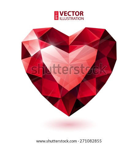 Shiny isolated red ruby heart shape on white background. RGB EPS 10 vector illustration - stock vector