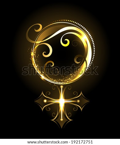 shiny jewelry , gold symbol of Venus on a black background