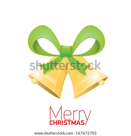 Shiny Jingle bells with green bow isolated on white . Vector illustration of merry christmas card - stock vector