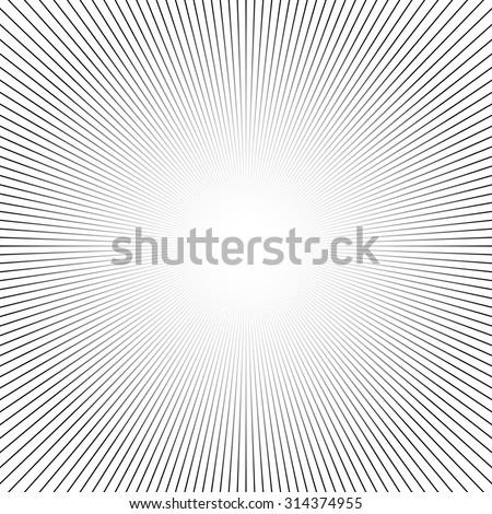 Shiny lights, abstract black & white line art background. Vector illustration. - stock vector