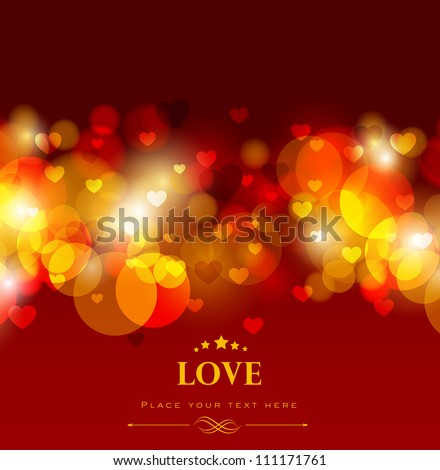 Shiny love background with red hearts, greeting or gift card for Valentines Day. EPS 10. - stock vector