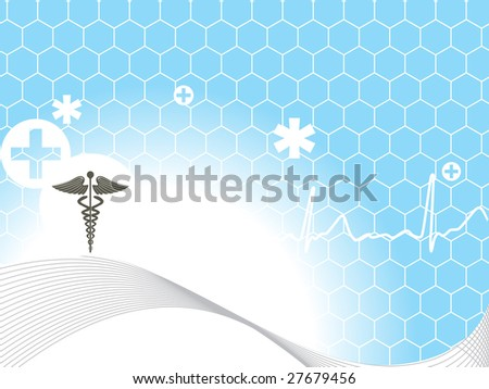 shiny medical background with wave and heart beat - stock vector