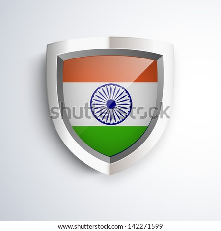 Shiny metal shield with National Flag on India.