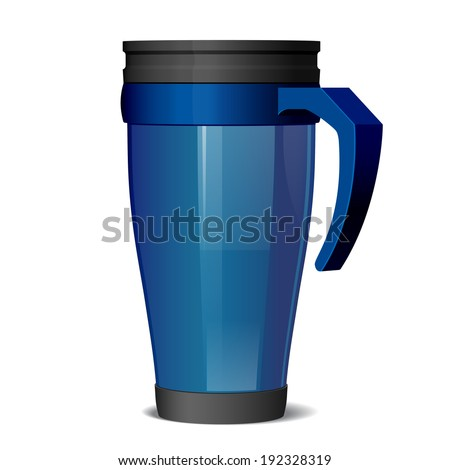Shiny Metal travel thermo-cup vector  - stock vector