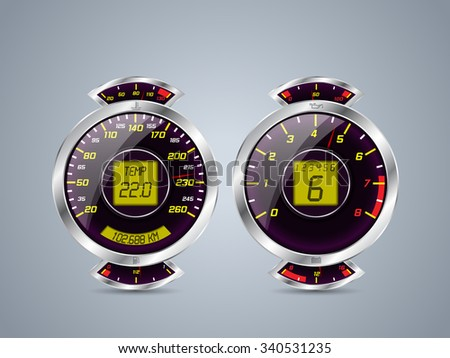 Shiny metallic speedometer and rev counter with  other instruments - stock vector