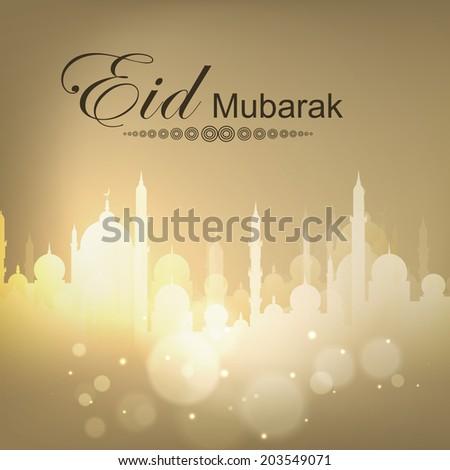 Shiny mosque on brown background for Muslim community festival Eid Mubarak celebrations.  - stock vector