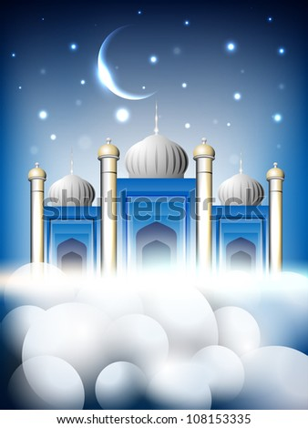 Shiny Mosque or Masjid on beautiful shiny blue background with moon. EPS 10. - stock vector