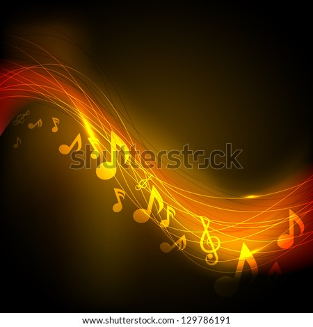 Shiny musical notes background, flyer, banner or poster, - stock vector