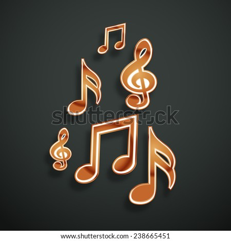 Shiny musical notes on dark grey background. - stock vector