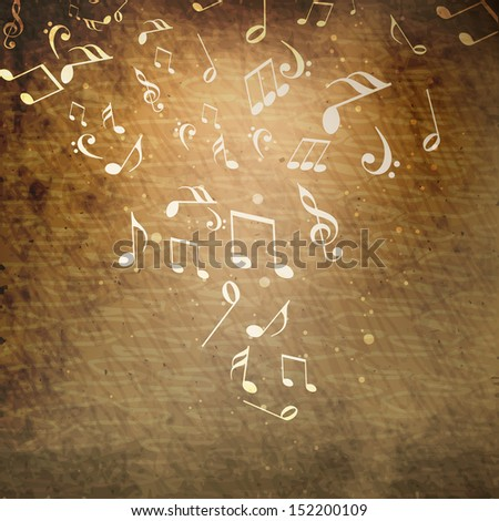 Shiny musical notes on grungy brown background, can be use as flyer, poster or banner in music concept and parties.  - stock vector