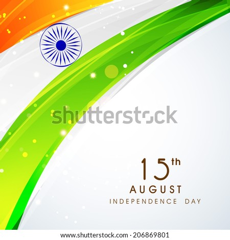 Shiny national flag with asoka wheel on grey background for 15th of August, Independence Day celebrations.  - stock vector