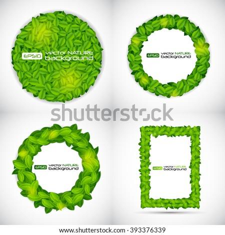 Shiny Natural Leaves Frame Set. Vector Illustration EPS10 - stock vector