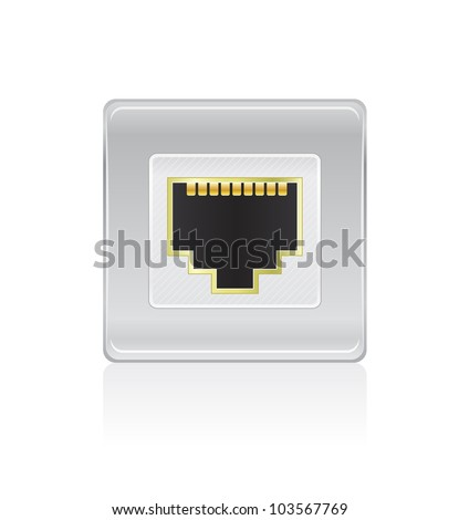 Shiny Network Port Icon. Vector Illustration of Socket - stock vector