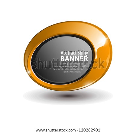 Shiny Orange Yellow Gold Bronze Round Banner - stock vector