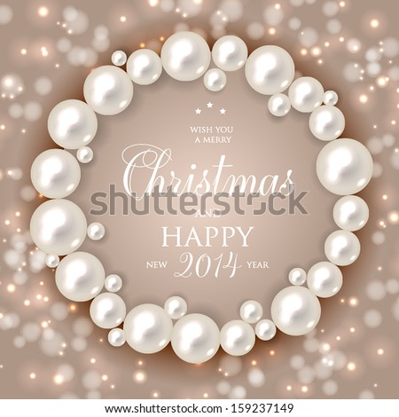 Shiny pearls frame on  background - vector illustration. - stock vector